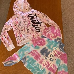 Lot of 2 Girls Justice cropped hoodies